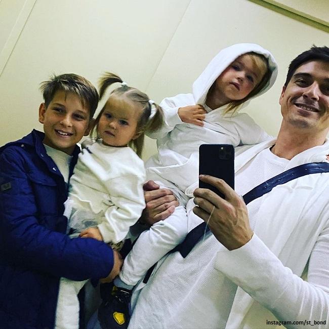 Stas Bondareko with his son and daughters