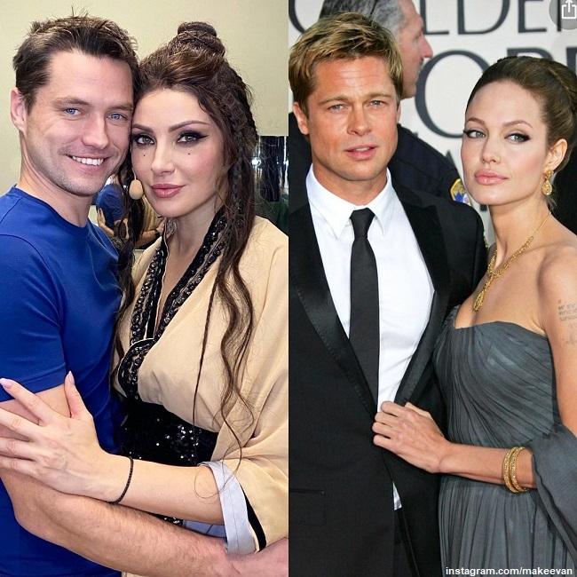 Anastasia Makeeva with her fiance Roman Bryd Pitt and Angelina Jolie