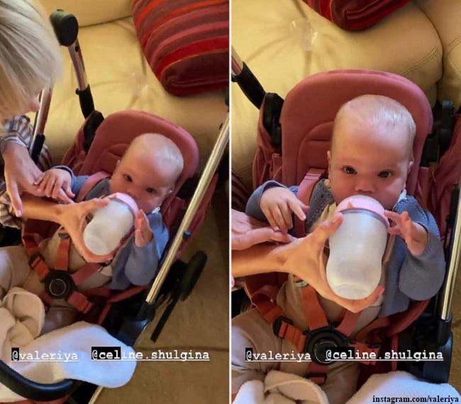 Валерия кормит из бутылочки внучку Селин