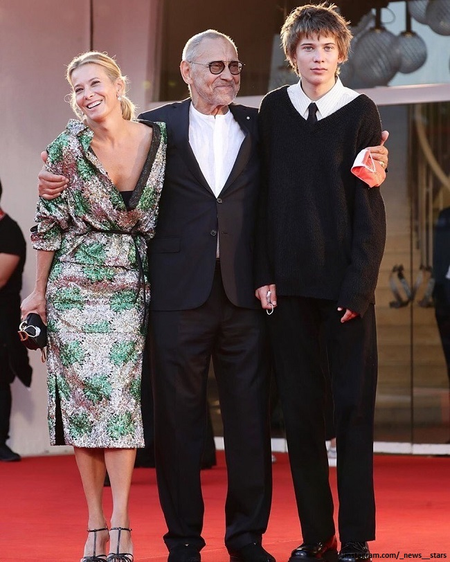 Julia Vysotskaya and Andrei Konchalovsky with their son Peter